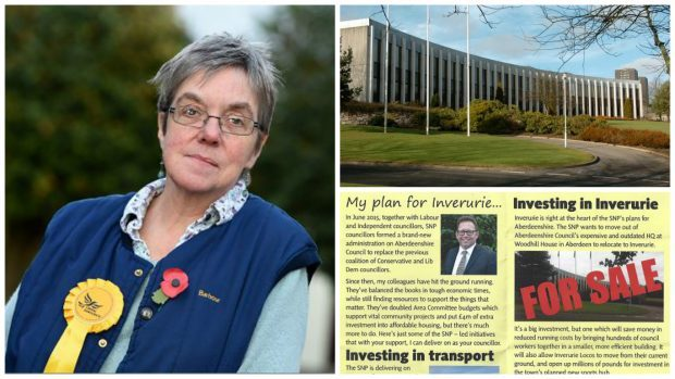 """The mock-up image featured within the by-election leaflet shows the Aberdeenshire Council HQ in the city with the words """"for sale"""" in bold in front of it, despite the building not being on the market."""