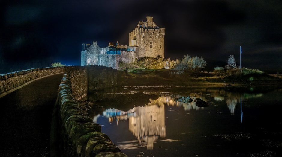 An atmospheric night at Eilean Donan Castle in Wester Ross. Picture courtesy of David Main of Elgin    Cheers     David Main  Elgin
