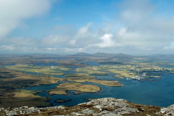 Lochmaddy from top of Li a Tuath, North Uist. Picture courtesy of Reader Ronnie MacAlpine, Lewis