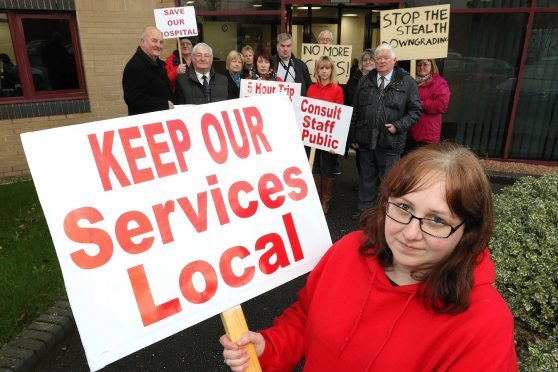 Caithness campaigners took their protest to Highland Council's Wick offices and NHS Highland's Inverness headquarters.