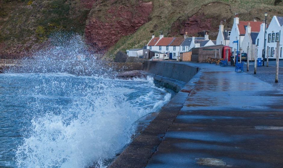 Waves breaking on the harbour wall at Pennan on the Buchan coast. Photograph: Judith McIntyre, Fochabers