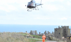 The helicopter at Dunnottar Castle