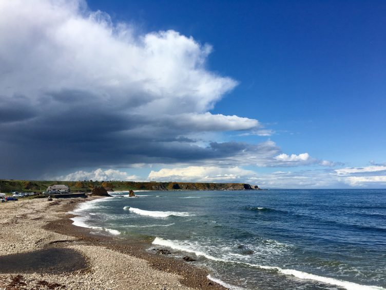 A day of sunshine and scattered showers seen from the Seatown of Cullen on the Moray coast. Picture courtesy of reader David T. Walker, Premnay
