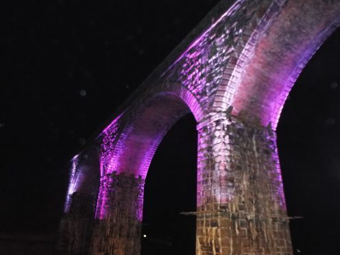 The western viaduct at Cullen lit up for Christmas. Photograph: Reader Dennis Paterson