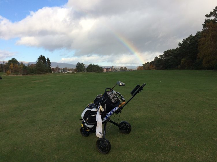 A rainbow over the 18th fairway at Edzell golf course with Edzell town in the distance. Photograph: David Birse, Stonehaven