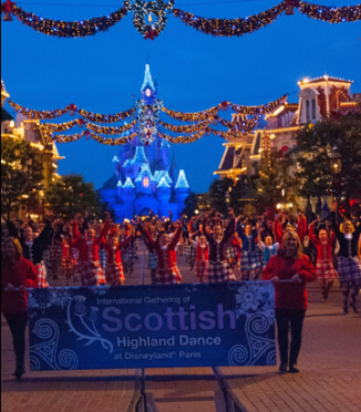 The Lawrence Dance School from Aberdeen lead the parade at Euro-Disney Paris
