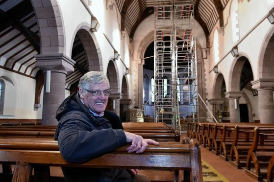 David Fleming inside the church prior to its closure.