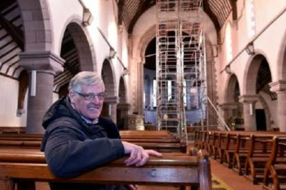David Fleming inside St James Church, Stonehaven
