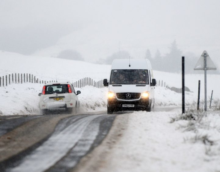 Heavy snow and freezing conditions near the village of Wanlockhead, Dumfries and Galloway, with adverse weather affecting much of the UK,