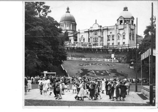 Aberdonians dancing in Union Terrace Gardens in 1962