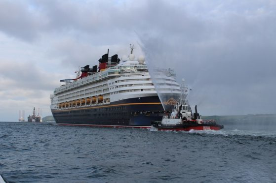 The Disney Magic cruise liner arriving in Invergordon in 2016.