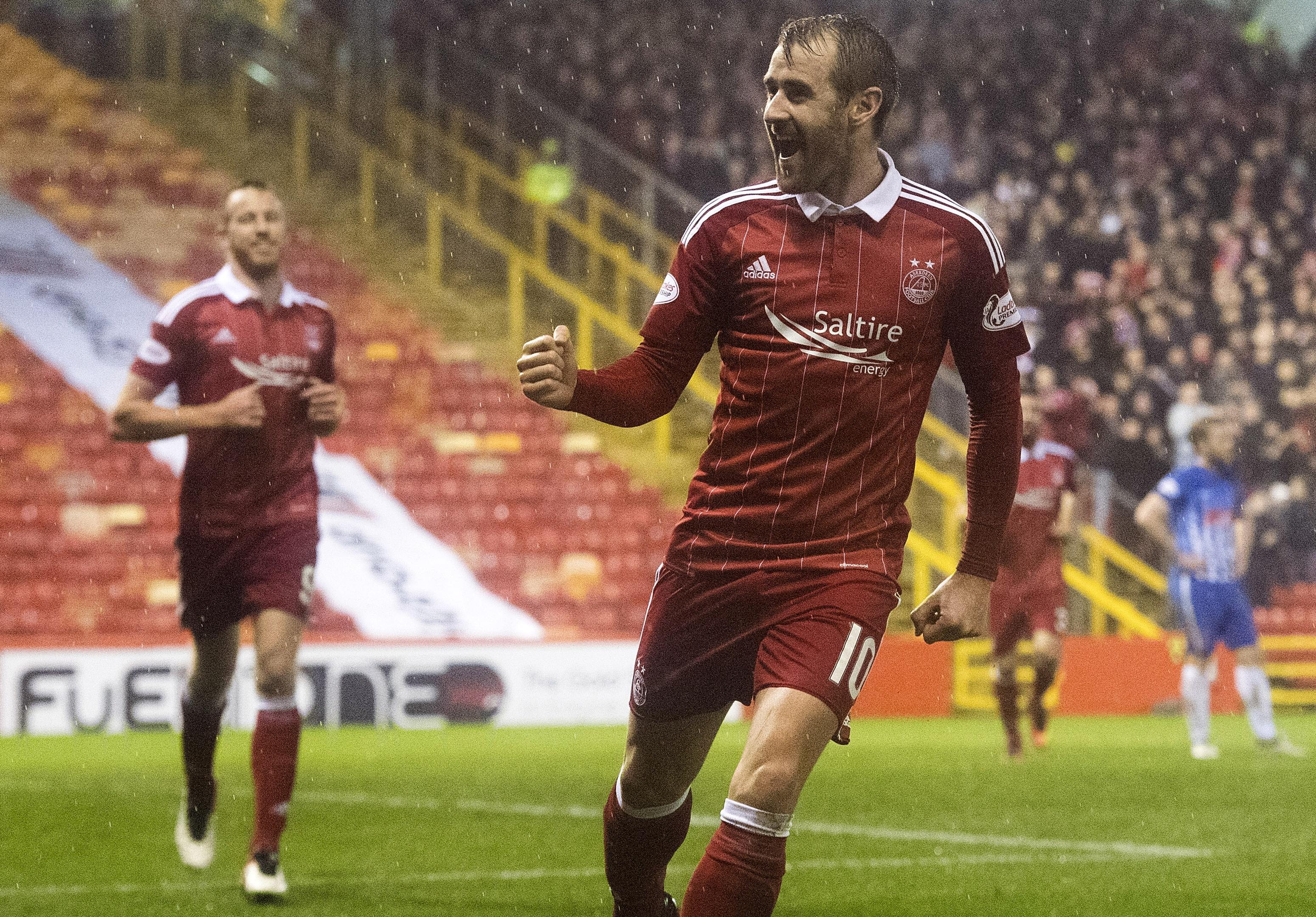 Aberdeen's Niall McGinn celebrates after scoring