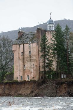 Abergeldie Castle was at risk of falling into the River Dee due to the damage caused to the riverbank.