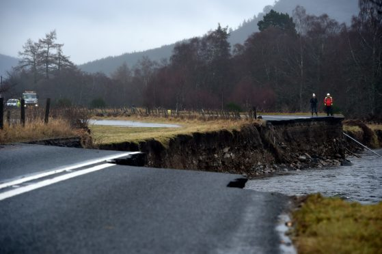 A temporary road is to be put in place to improve access to and from Braemar in the wake of the severe flooding damage. Picture by Kenny Elrick