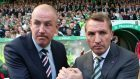 Mark Warburton's Rangers will host Celtic manager Brendan Rodgers, right, and his Hoops squad at Ibrox on Saturday