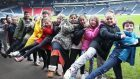 The giant conga took place at Hampden Park in Glasgow to raise funds for Glasgow the Caring City