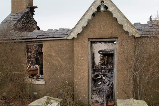 The croft house at Scarfskerry was completely destroyed by fire.