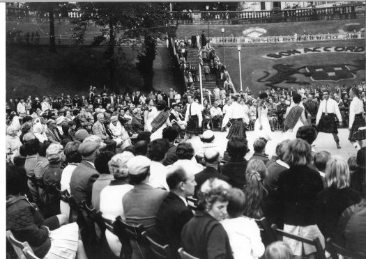The Jack Sinclair Band and the Queen's Cross Dancers take part in the Festival of Bon Accord in August 1967