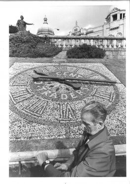 Traders presented a floral clock to Aberdeen District Council in 1983