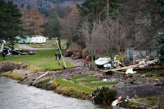 Flood damage at Ballater after the River Dee burst its banks flooding the town.