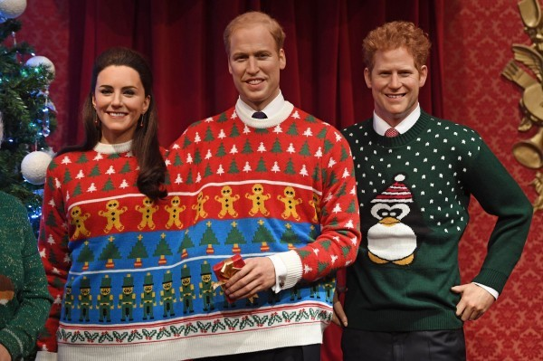 Royal Family wax figures don Christmas jumpers for charity