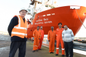 (from left) Doug Duncan, the Aberdeen port chaplain for Catholic charity Apostleship of the Sea, with Malaviya Seven crew members Clay Vaz, Ashish Prabhakar, Bamadev Swain, Rahul Sharma and captain L.B. Singh. AoS has been supporting the crew of the MV Malaviya Seven throughout the Christmas period.