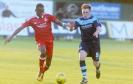 Aberdeen's Kesiolu Omolokun and Forfar's Allan Smith