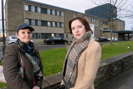 Gillian Coghill of Highland Council (left) with Nicola Sinclair, Chat (Caithness Health Action Team) campaign leader photographed outside Caithness General Hospital in Wick.