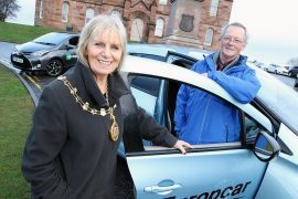 Councillors Helen Carmichael and Allan Henderson at the launch of Inverness Car Club
