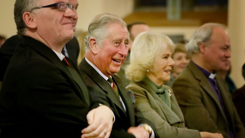 Charles and Camilla sing during a performance of Robert Burns poetry with music by Professor Paul Mealor and the Aberdeen University Chamber Choir