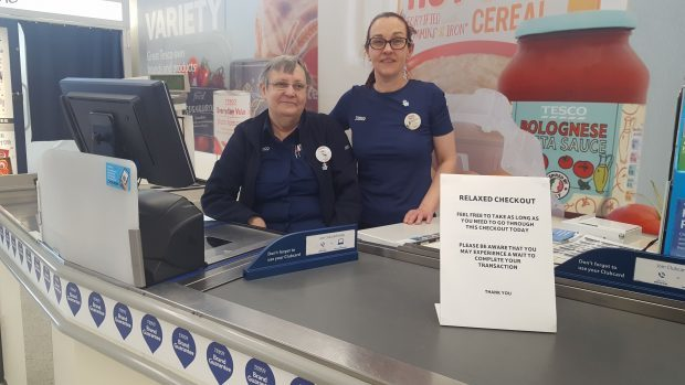 Tesco checkout staff Iris Beveridge(L) and Kerry Speed(R)  in Forres,