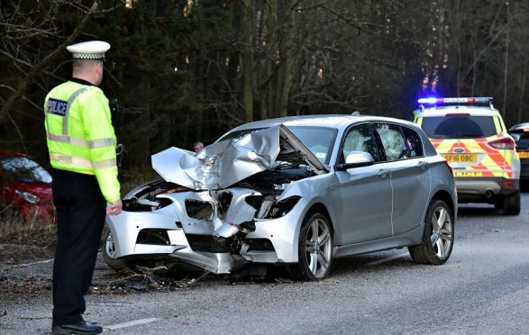 Police were called to a crash on the North Deeside Road. (Picture: Kami Thomson).