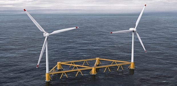 An artist's impression of the Dounreay Tri demonstrator floating wind farm.