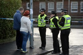 Police at the scene of a shooting that happened near St George's RC Primary School