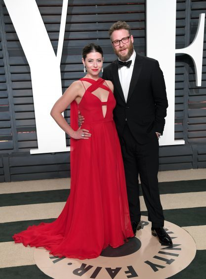 Seth Rogen and Lauren Miller. Photo credit: PA/PA Wire