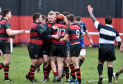 Aberdeenshire Ross Greig (10), celebrates his try Picture by COLIN RENNIE
