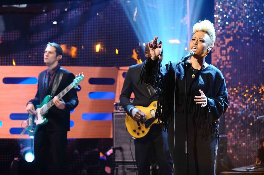 Emeli Sande during the filming of the Graham Norton Show in 2012