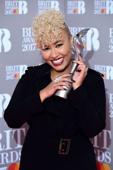 Emeli Sande with her award for Best British Female Solo Artist at last night's Brit Awards