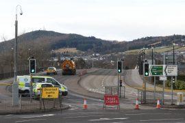 The scene on Friars Bridge in Inverness.
