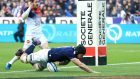 Tim Swinson crossed for Scotland but they were still edged out by France in Paris