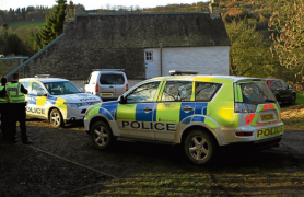 Police at the scene of the search at the weekend