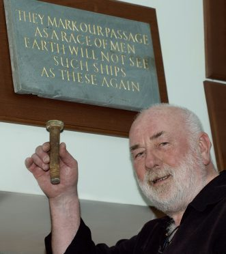 "First piece of the tea clipper ""Cutty Sark"" to come back home to Inverbervie and Scotland, an original bolt from the hull is proudly held by Dave Ramsay in the Burgh  Hall Inverbervie beside the Hercules Linton Memorial."