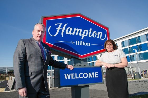 Hampton by Hilton Aberdeen Airport general manager Sandra Brooks and Westhill general manager Mike Johnstone