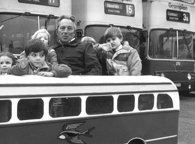 At the wheel of the children's fun bus was Harry Forrest from Cruden Bay in 1987