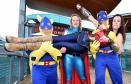 Kerry Glen aka Wonderwoman a lift are (l to r) Ian Munro, Freyja King-MacGregor and Steven Clelland.