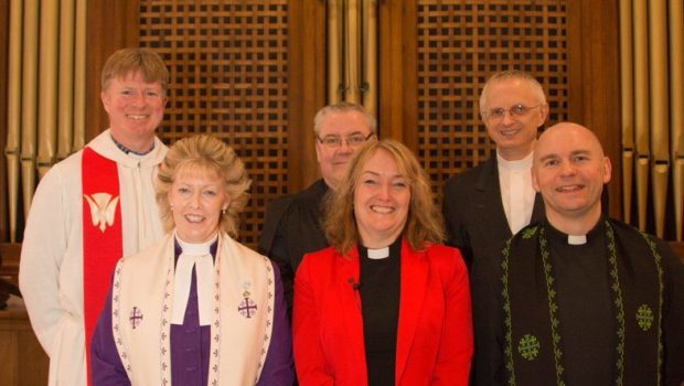 Rev Ruth Cathcart (centre) with other ministers from the Gordon Presbytery.