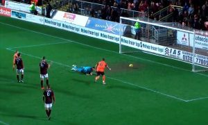 Videograb of Shea Dillon scoring a goal for Dundee United against Hearts in his dad Sean Dillon's testimonial match