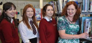 Elgin Academy librarian Shelagh Toonen, pictured right, with pupils Rhona Sword, Megan Sutherland and Kayleigh Young.