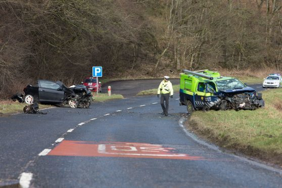 The scene of the two-car crash on the A947 near Fyvie