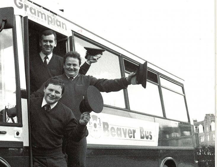 Grampian Transport trainee bus drivers Malcolm Ritchie, Keith Duncan and George Ewen